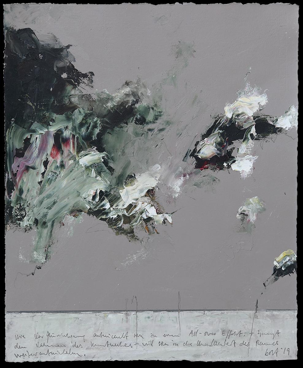 Verdichtung und Verflüchtigung | 2019 | Öl auf Büttenpapier | 48 x 39.5cm