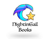NightinGail Books logo.  A Nighitngale bird in the shape of a G with a gold star on the tail.
