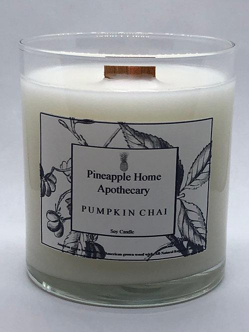Pumpkin Chai Soy Wood Wick Candle w/lid