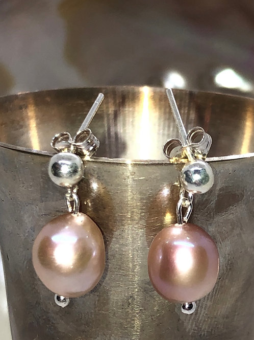 Ballet pink sterling silver earrings