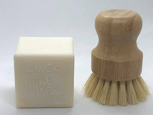 Castile soap and bamboo scrub brush