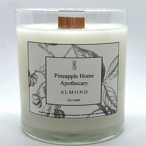 Almond Soy Wood Wick Candle w/lid
