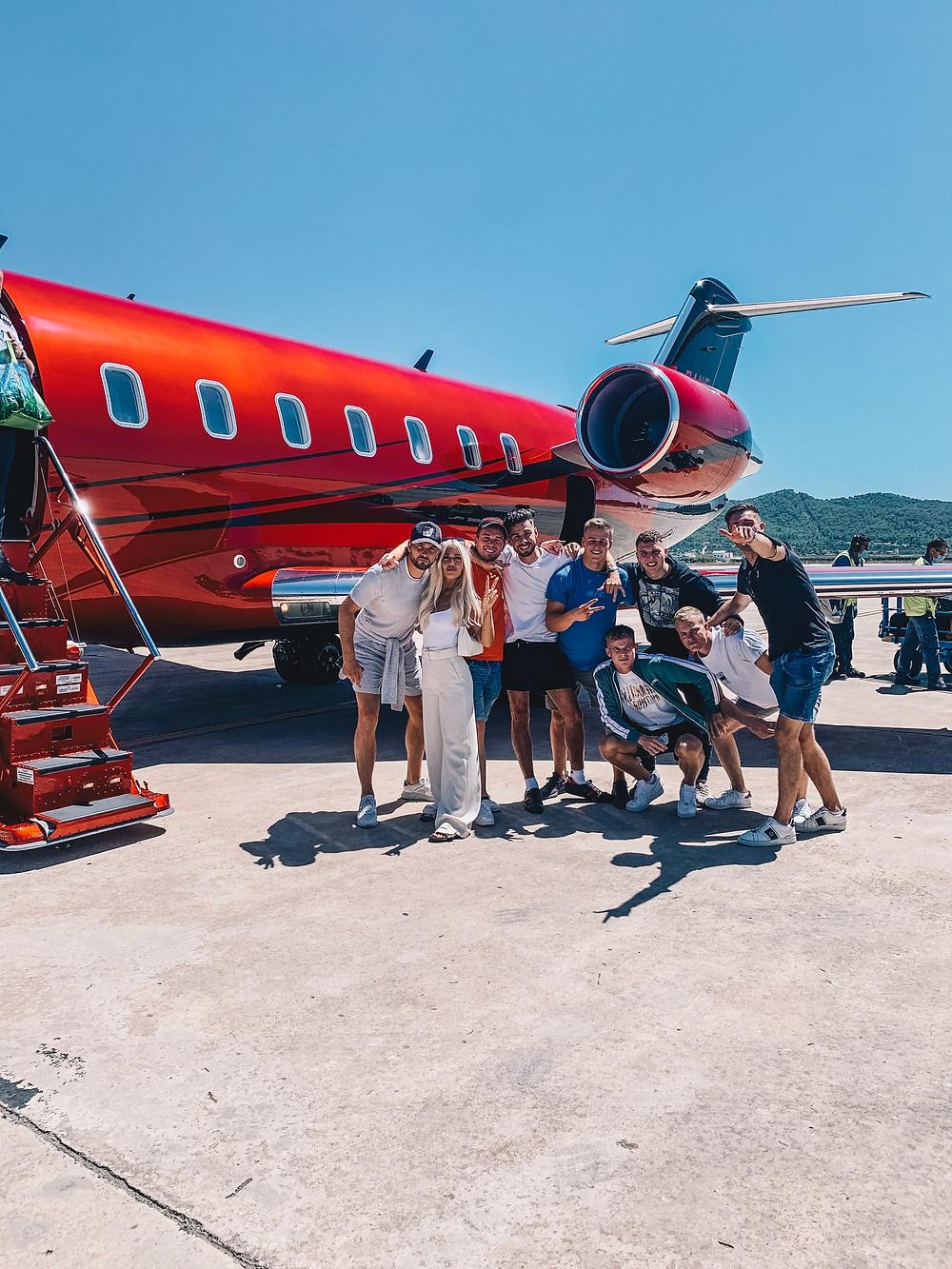 Dan Legg, Lewis Burton, Lottie Tomlinson, lewis Hamilton, private jet, ibiza