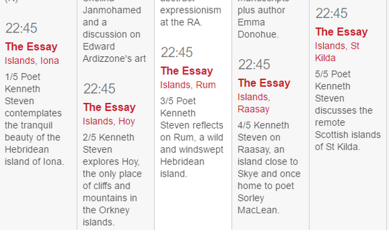 Essays on Scottish Islands - Kenneth Steven on BBC Radio 3