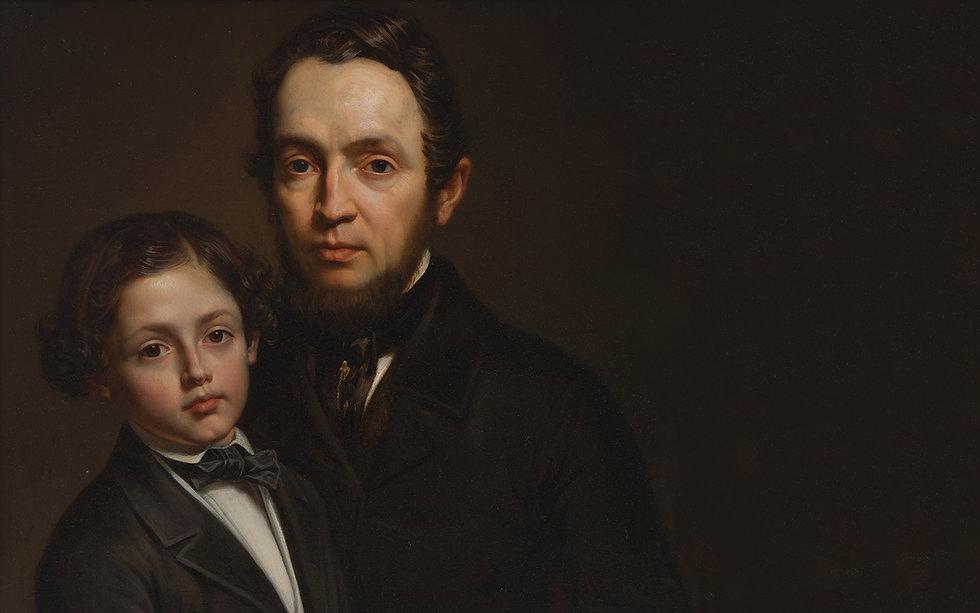 Portret van Pierre Joseph Van Diest en zijn zoon Napoléon: vader en broer van Isala Van Diest (1842-1916), eerste vrouwelijke arts van België © M Leuven
