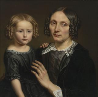 Portret van Elisabeth Victoire Louise Génie en haar dochter Florida Van Diest