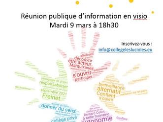 Première réunion publique le 9 mars 2021