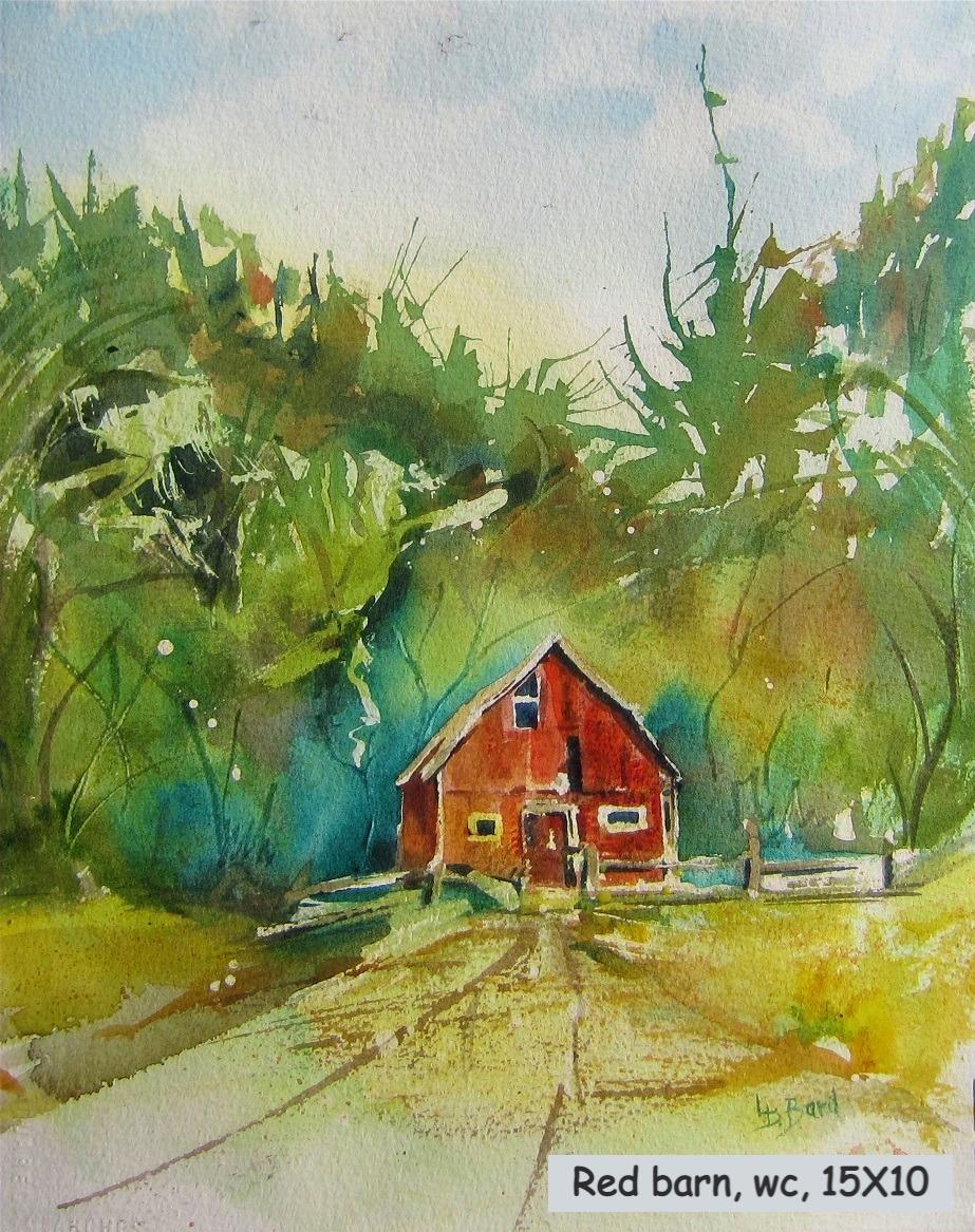 Red barn, watercolour, 15X10