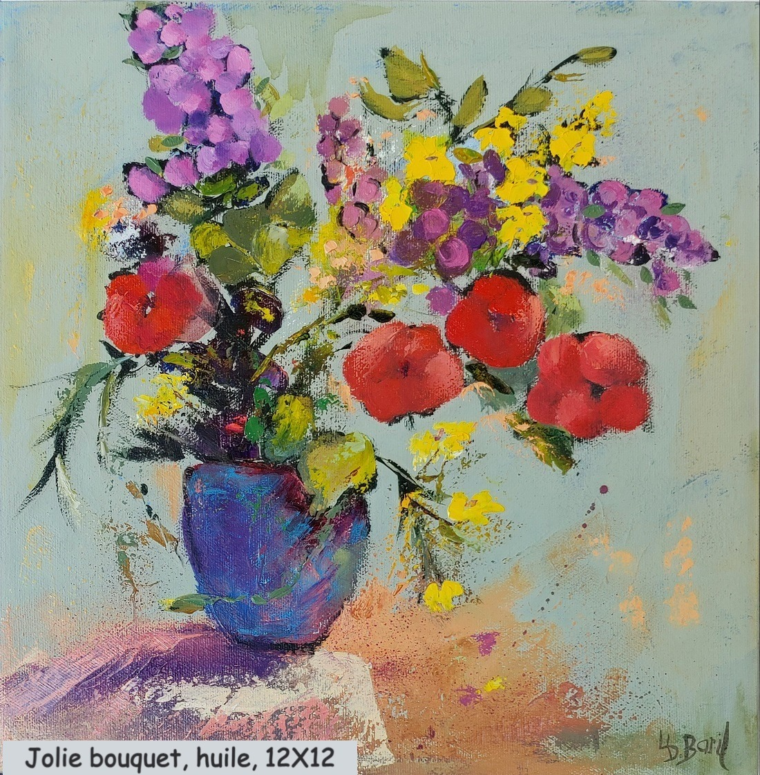 Joli bouquet, huile, 12X12