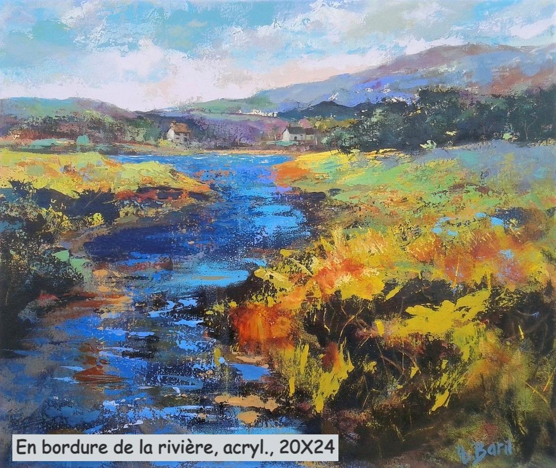 En bordure de la rivière, acrylique, 20X