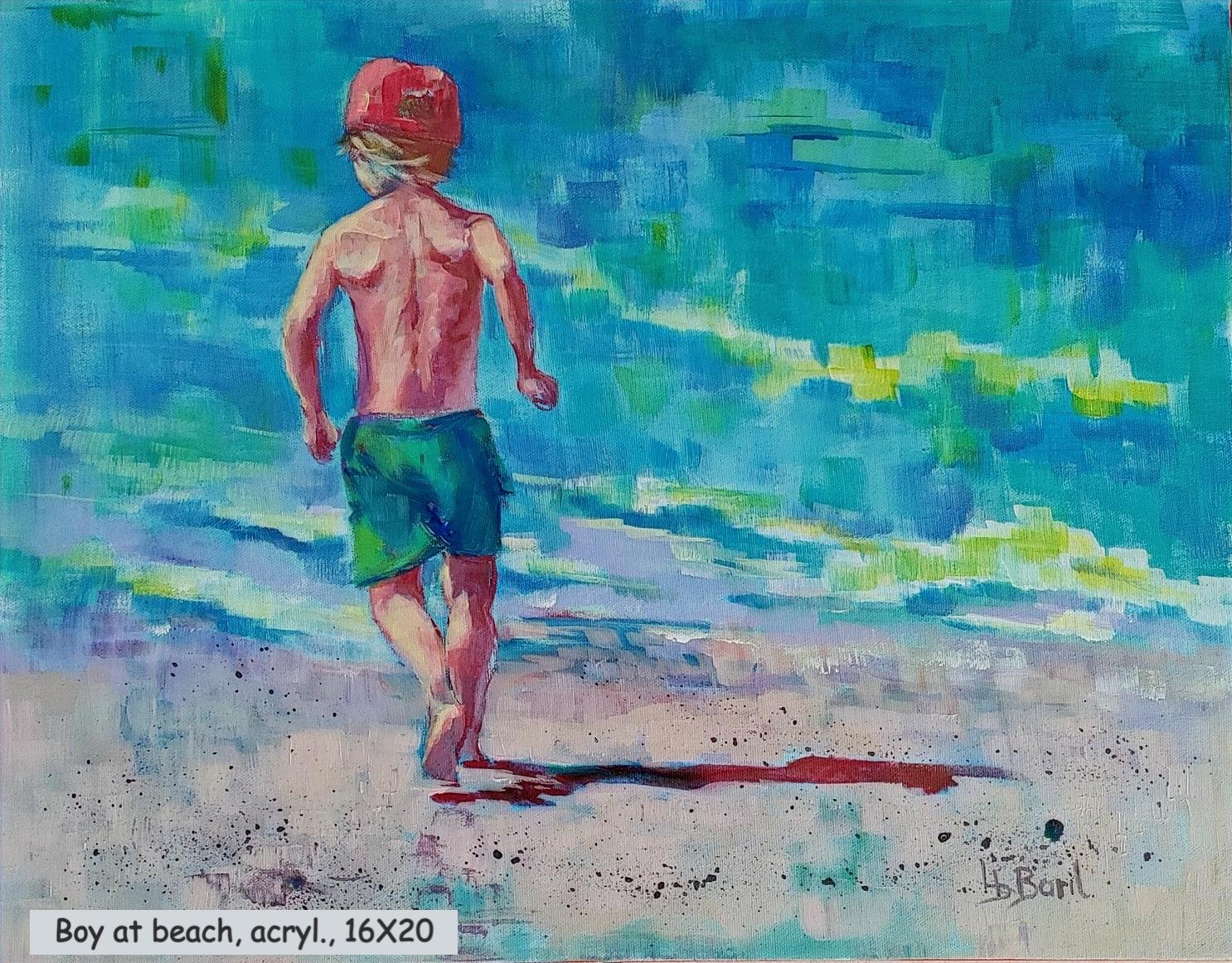 Boy at beach, acrylic, 16X20
