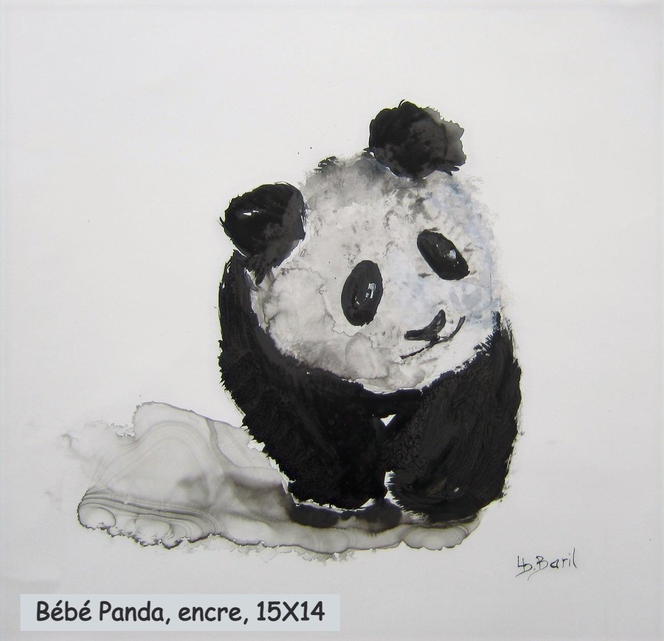Bébé Panda, encre, 15X14