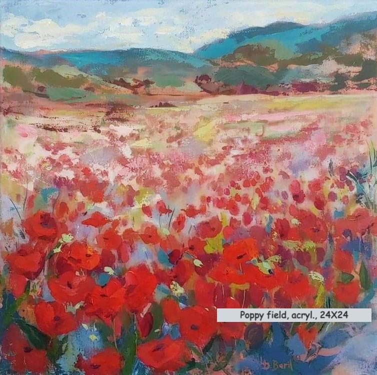 Poppy field, acrylic, 24X24