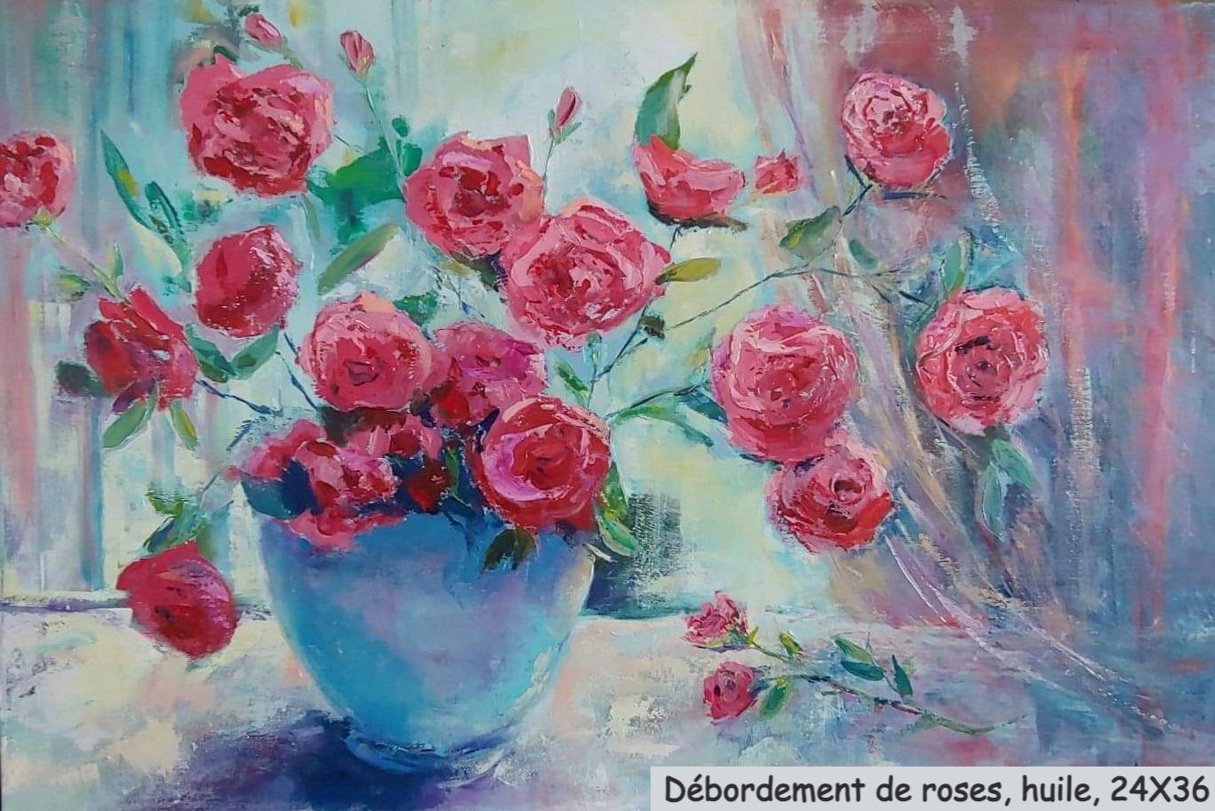 Débordement de roses, huile, 24X36