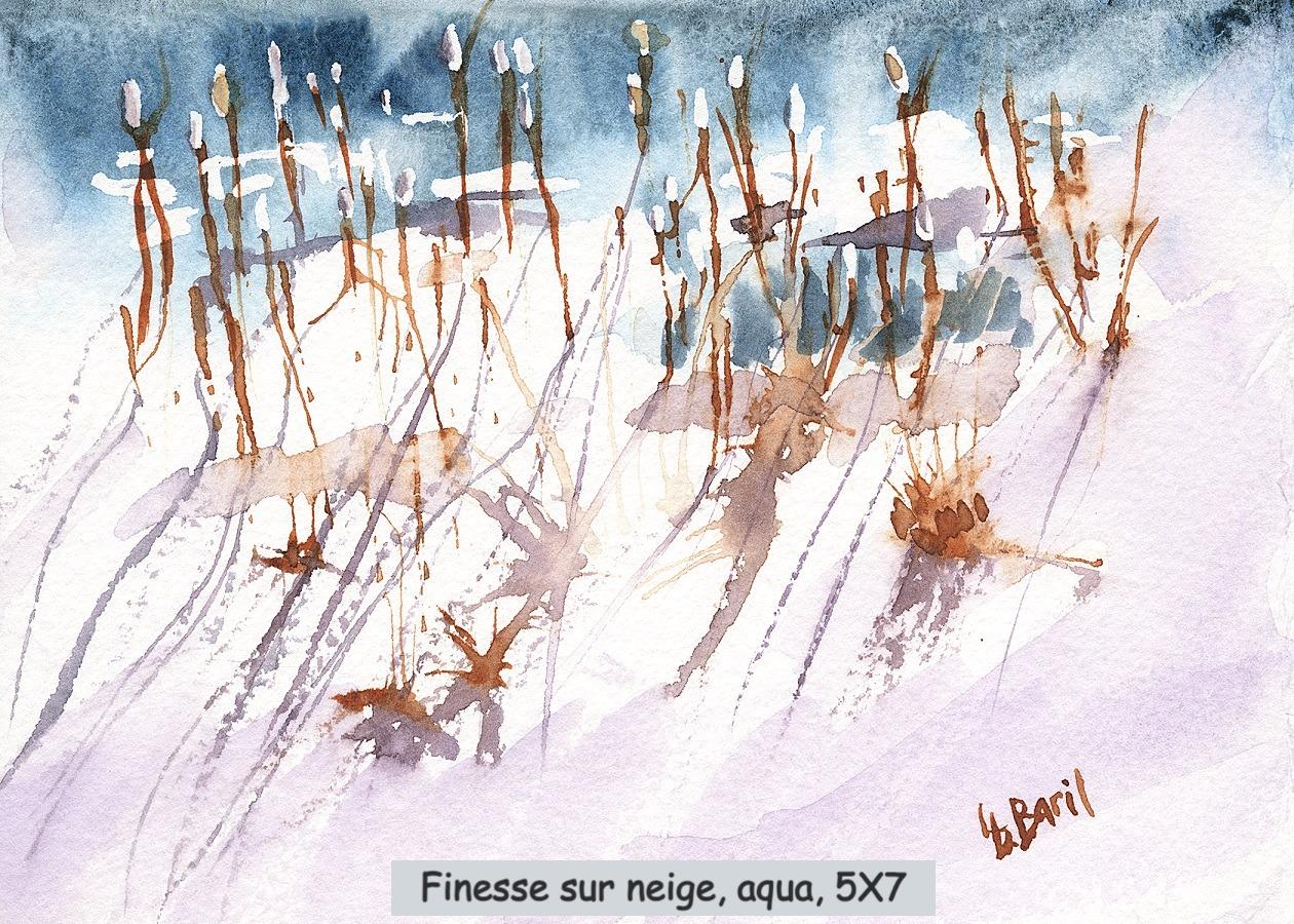Finesse sur neige, aquarelle, 5X7