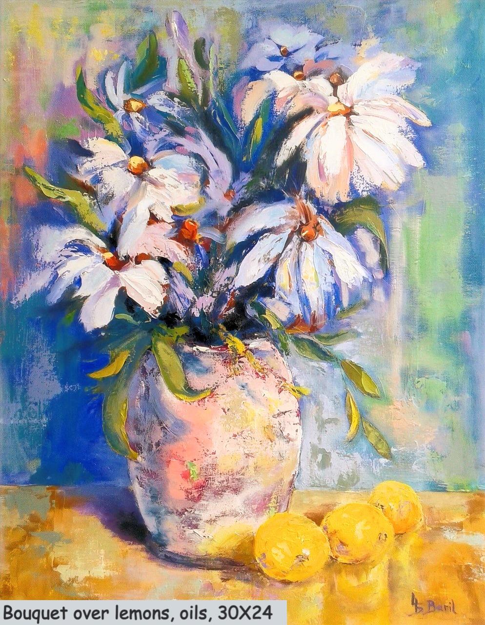 Bouquet of fluffyness, oils, 30X24