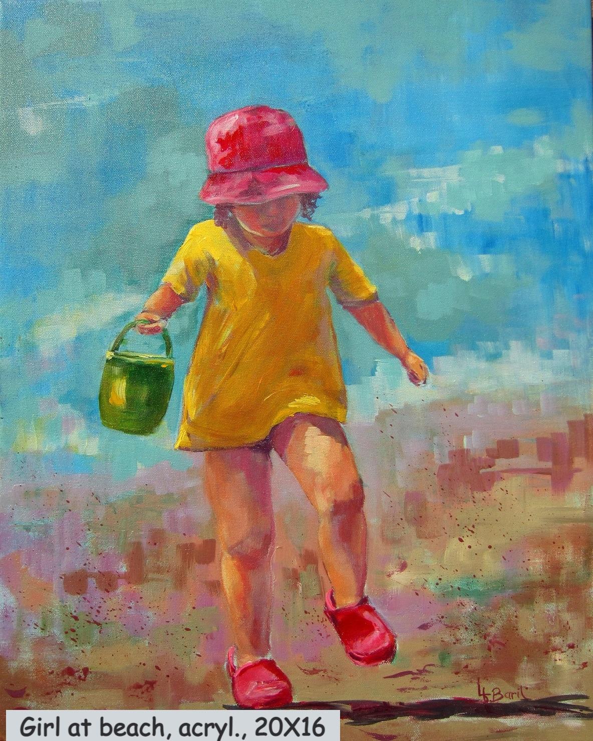Girl at beach, acrylic, 20X16