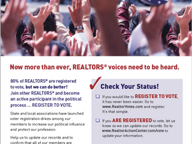As a member of the REALTOR® Party, we urge you to register to vote!