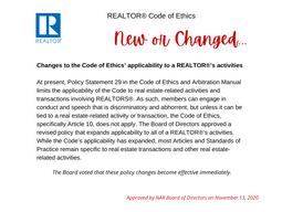 REALTOR® Code of Ethics New and Changed