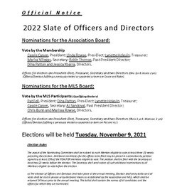 NOTICE: Slate for 2022 Officers and Directors