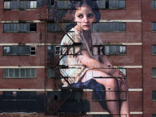 Massive Painting of Neoclassical Girl Takes Over a Seven-Story Building