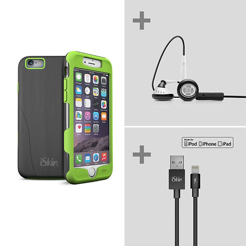revo Sport + earTones + Lightning Cable Bundle (iPhone 6/6S Plus Energy Green)