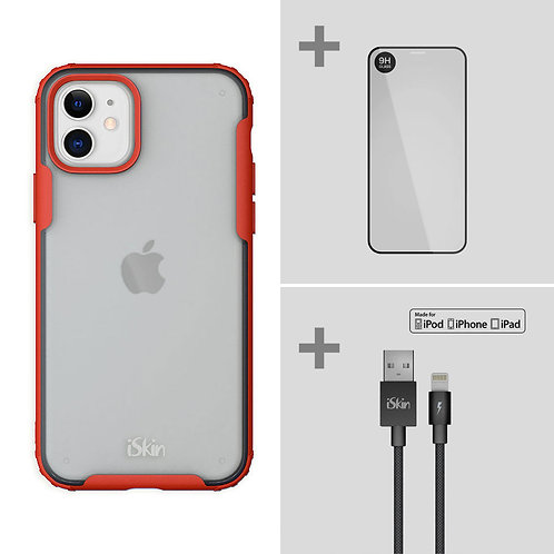 """Aura (red) + TITAN Screen Protector + Cable  Bundle for iPhone 11 (6.1"""")"""