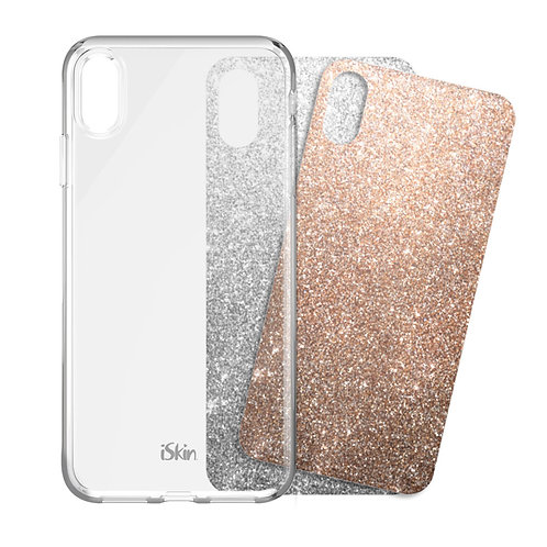 iSkin Claro Clear Case and Film Inserts (Rose Gold and Silver) for iPhone XS Max