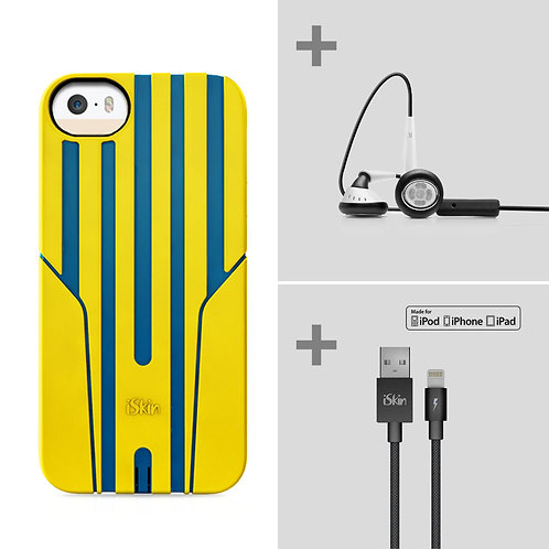 iSkin exo + earTones + Lightning Cable (iPhone 5/5S/SE - Yellow/Blue)
