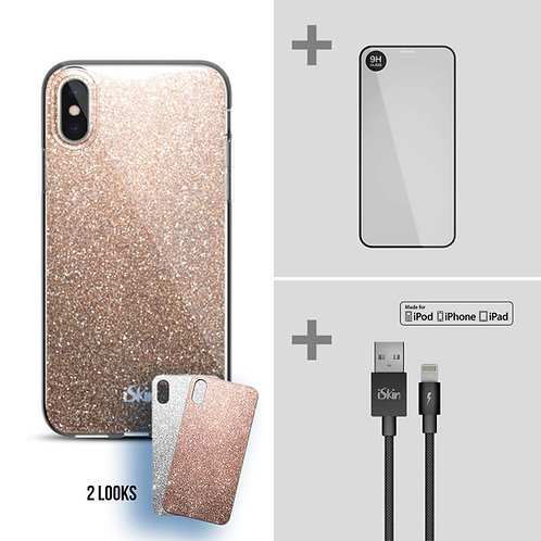 "Claro Glam+Titan Screen Protector+Lightning Cable Bundle (iPhone XR 6.1"")"