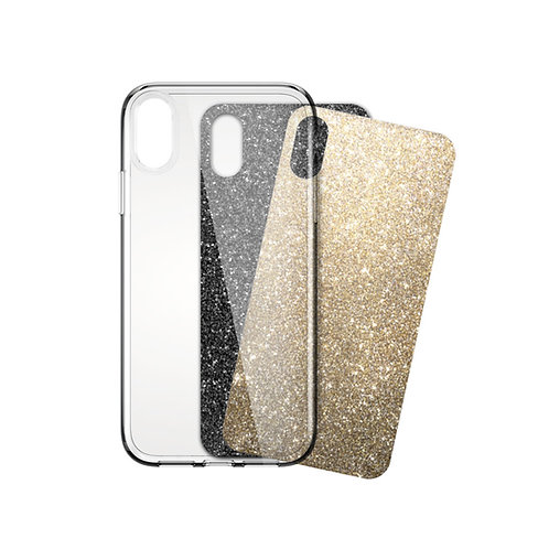 iSkin Claro Glam: Clear case and Glam Night Out Film Inserts (Gold and Black) for iPhone X/XS