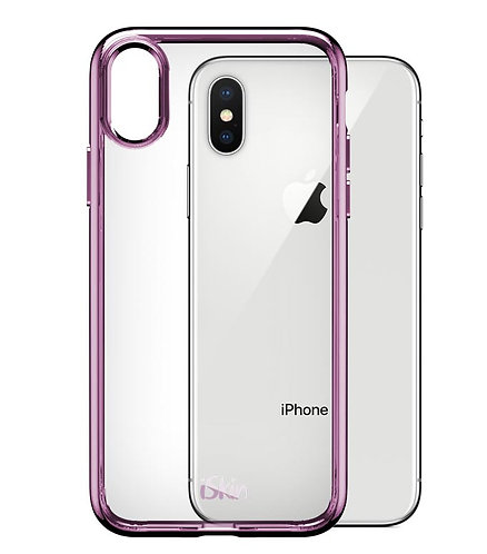 "iSkin Rose Gold Clear Case for iPhone X / XS (5.8"") back view"