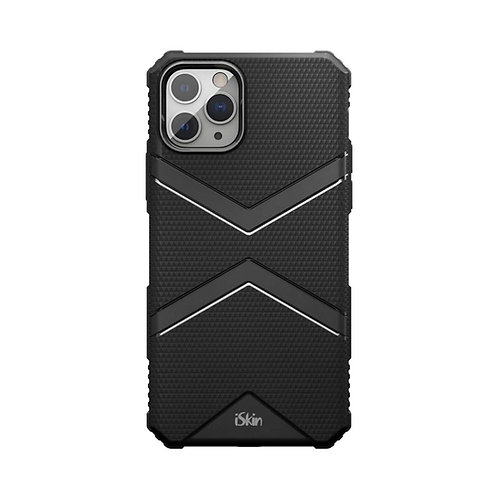 iSkin exo Black back view on iPhone 11 Pro silver