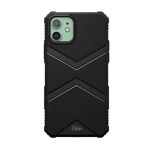 iSkin exo Black back view on iPhone 11 green