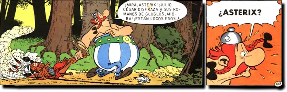 Obelix reclama a Astérix sobre fondo naranja. Idea para ls diapositivas Powerpoint
