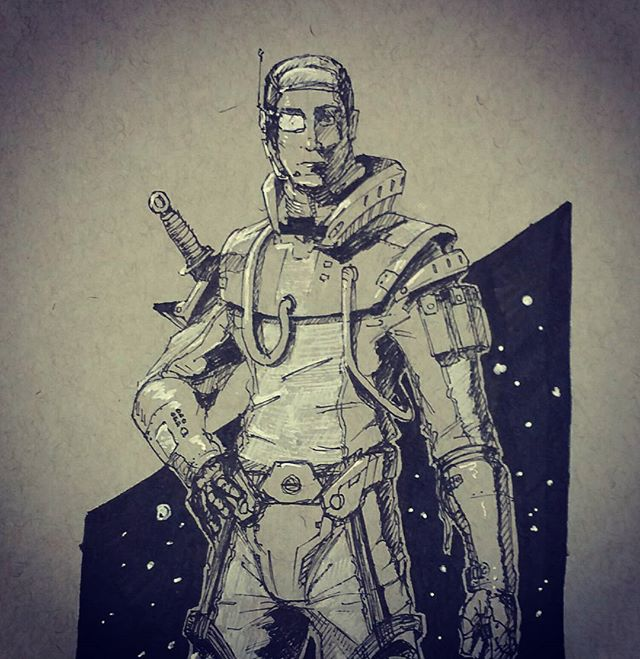 Freehand space man.jpg  Testing new pen techniques