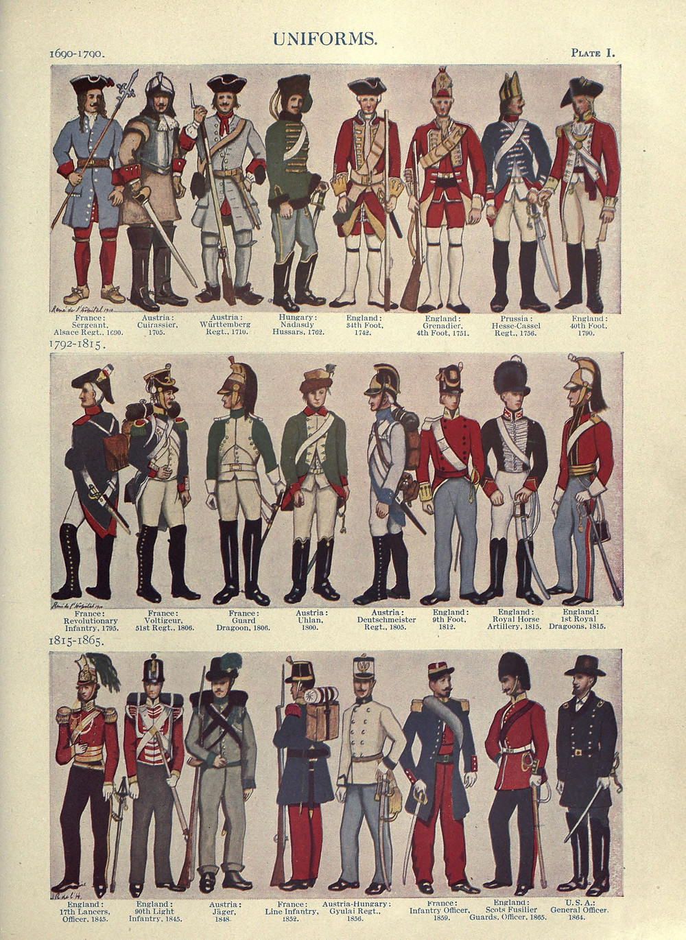 "By L'Hôpital, René le Brun (illustrator); Atkinson, Charles Francis (author); Chisholm, Hugh (editor) - ""Uniforms"", Encyclopaedia Britannica. 27 (11th ed.). Cambridge University Press, Vol 27 pg 611, Public Domain"