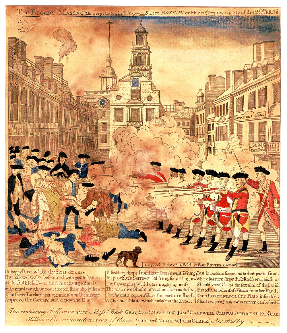 The Boston Massacre on 5 March, 1770