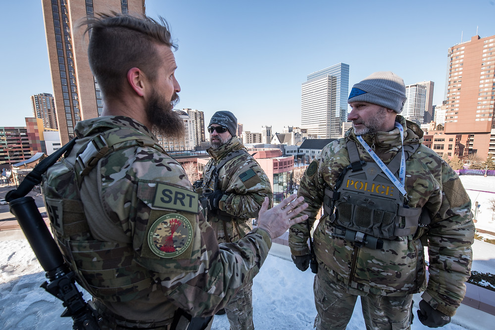 Homeland Security Investigations Special Response Team provides security in and around Minneapolis, Minnesota during the week leading up to Super Bowl 52. This photos shows some of the SRT agents providing security around the Minneapolis Convention Center.