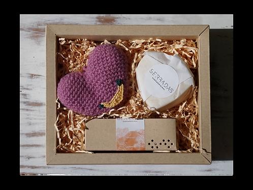 Kit Sabonete, Coração Crochet e Manteiga Cacau
