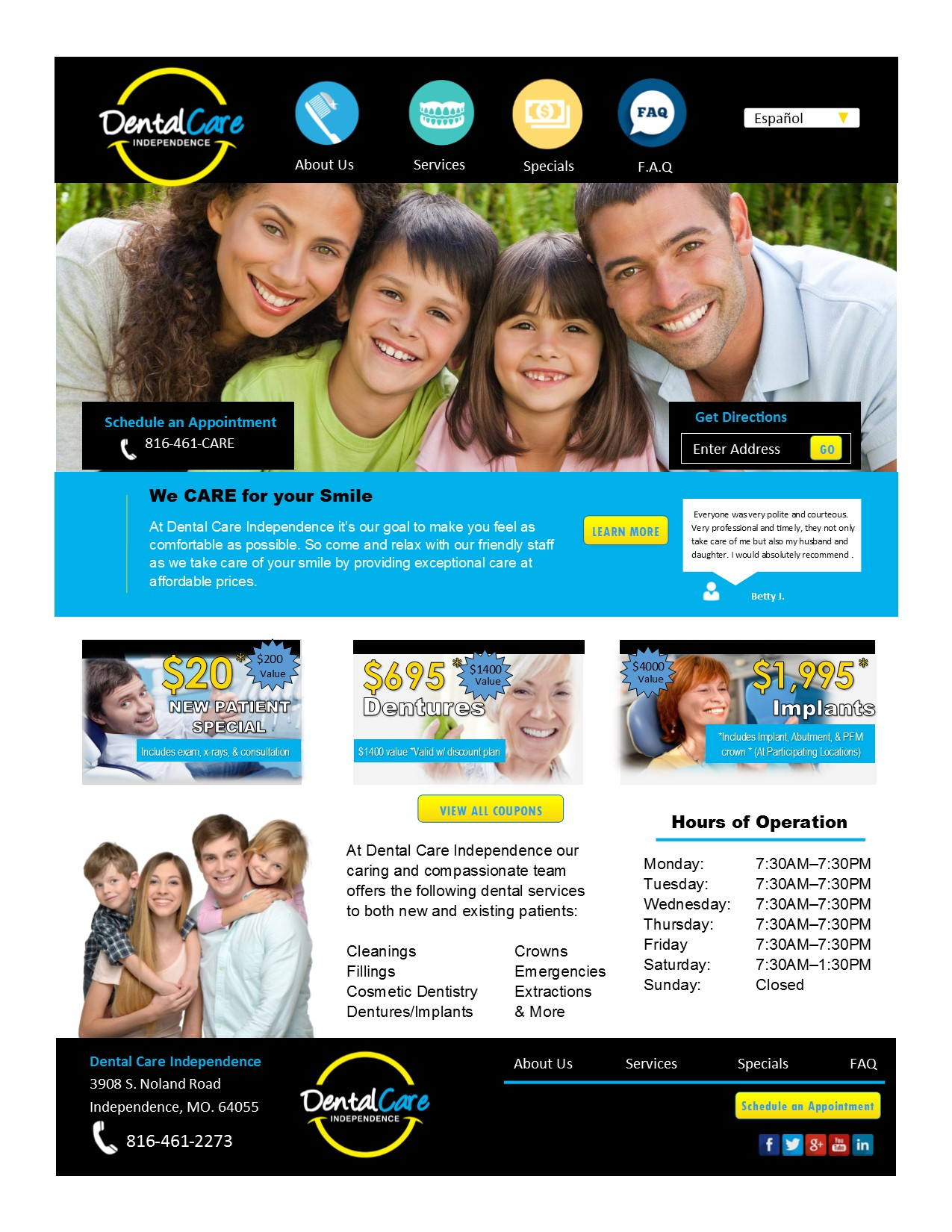 Mock Dental Care Site