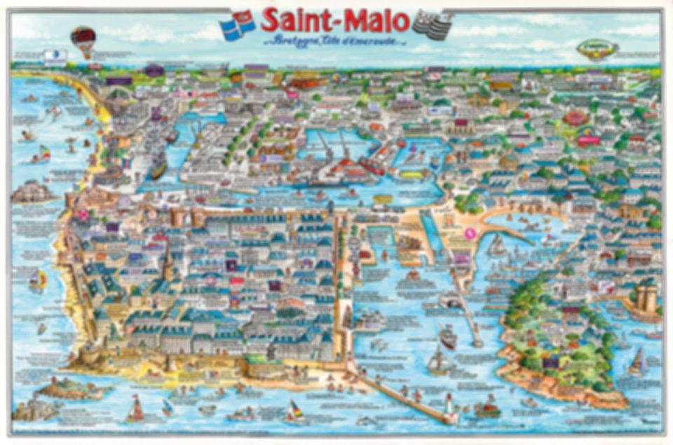 Illustration de Saint Malo, une nouvelle illustration de la ville de saint malo, un dessin representant la cite corsaire. Un joli poster en grand format pour sa decoration interieure.