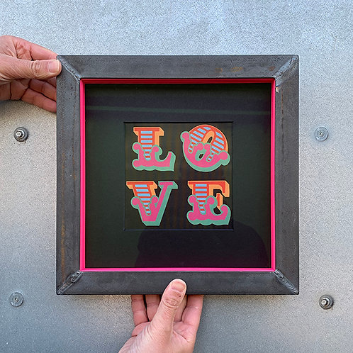 BEN EINE 'LOVE' LENTICULAR with CUSTOM METAL FRAME