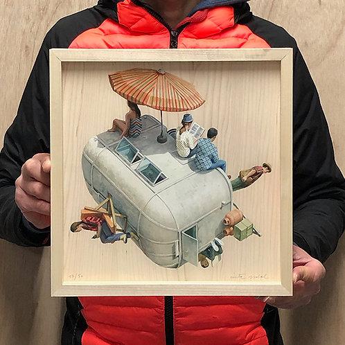 CINTA VIDAL 'CARAVAN' Ltd Edition Print with Tulip Wood Frame