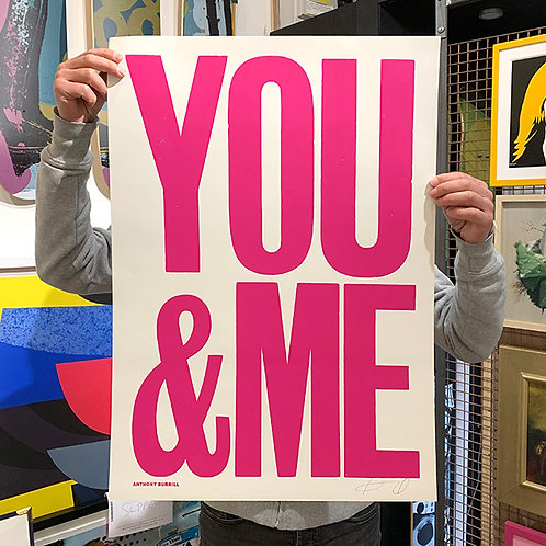 ANTHONY BURRIL 'YOU & ME' PINK Signed PRINT