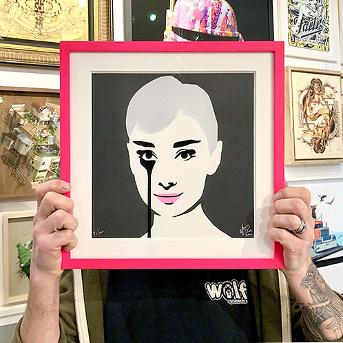 PURE EVIL 'AUDREY HEPBURN' Mini Ltd Edition PRINT with FRAME