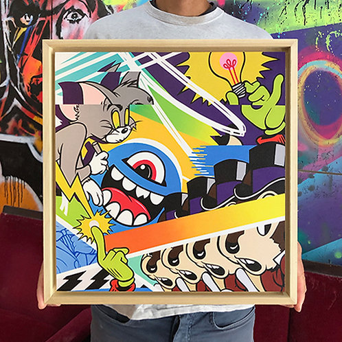 GREG MIKE 'BRIGHT IDEA' Time Released Print on Wood with FRAME