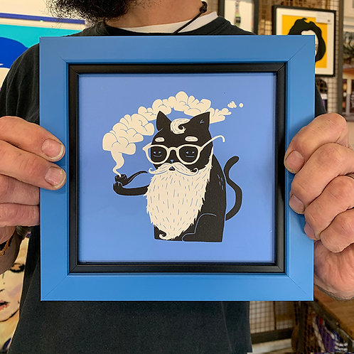 JOEL ROBINSON 'Whiskers and Pipe' with Custom Double Cascading Frame