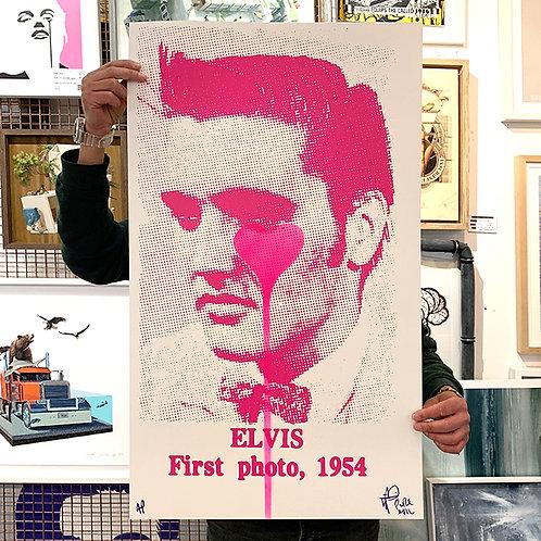 PURE EVIL 'Elvis First Photo, 1954' Pink Heart (AP) ARTIST PROOF