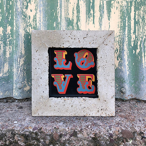 BEN EINE 'LOVE' LENTICULAR with CONCRETE FRAME